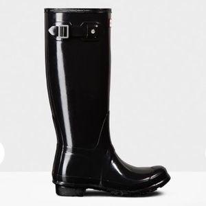 Original Tall Gloss Rain Boots: Black